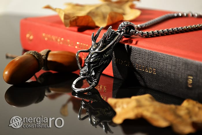 Amuleta, Pandantiv Dragon Cornut INOX PND054-02