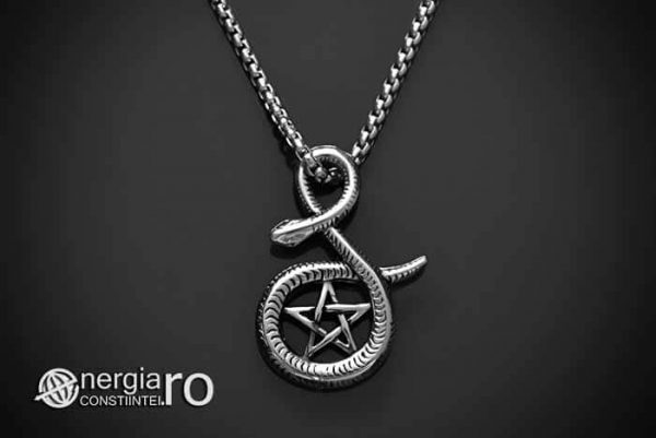 Pandantiv_Pentagrama_Pentaclu_Sarpe_Incolacit_Talisman_Medalion_Amuleta_Simbol_Sacru_INOX_PND030-01