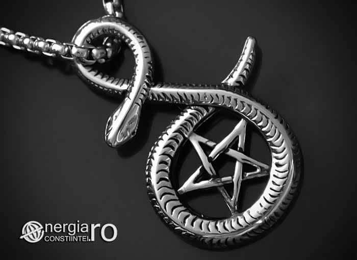 Pandantiv_Pentagrama_Pentaclu_Sarpe_Incolacit_Talisman_Medalion_Amuleta_Simbol_Sacru_INOX_PND030-00
