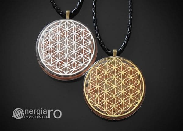 Amuleta-Medalion-Colier-Talisman-Pandant-Pandantiv-Orgonic-Orgon-Floarea-Vietii-Placata-Aur-18k-Argint-925-Cristal-Cuart-Roz-ORG005-00