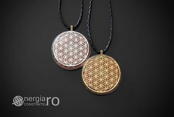 Amuleta-Medalion-Colier-Talisman-Pandant-Pandantiv-Orgonic-Orgon-Floarea-Vietii-Placata-Aur-18k-Argint-925-Cristal-Cuart-Roz-ORG005-01