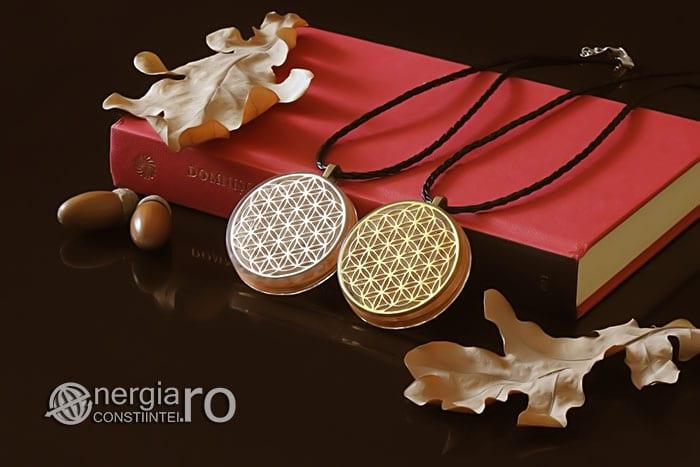 Amuleta-Medalion-Colier-Talisman-Pandant-Pandantiv-Orgonic-Orgon-Floarea-Vietii-Placata-Aur-18k-Argint-925-Cristal-Cuart-Roz-ORG005-03