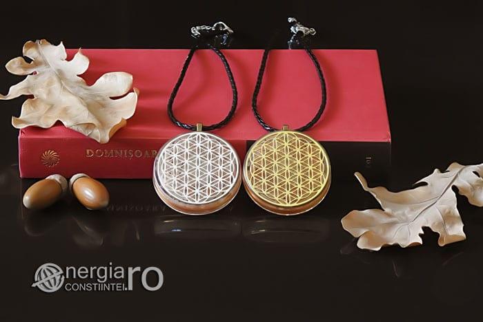 Amuleta-Medalion-Colier-Talisman-Pandant-Pandantiv-Orgonic-Orgon-Floarea-Vietii-Placata-Aur-18k-Argint-925-Cristal-Cuart-Roz-ORG005-05