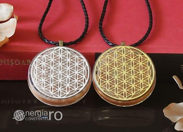Amuleta-Medalion-Colier-Talisman-Pandant-Pandantiv-Orgonic-Orgon-Floarea-Vietii-Placata-Aur-18k-Argint-925-Cristal-Cuart-Roz-ORG005-06
