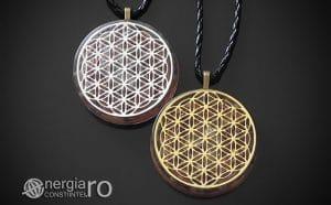 Amuleta-Medalion-Colier-Talisman-Pandant-Pandantiv-Orgonic-Orgon-Magnetic-Floarea-Vietii-Placat-Aur-18k-Argint-925-Cristal-Cuart-Ametist-ORG006-00