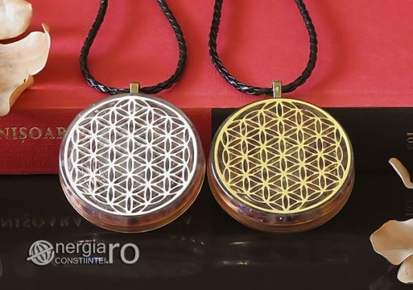 Amuleta-Medalion-Colier-Talisman-Pandant-Pandantiv-Orgonic-Orgon-Magnetic-Floarea-Vietii-Placat-Aur-18k-Argint-925-Cristal-Cuart-Ametist-ORG006-06