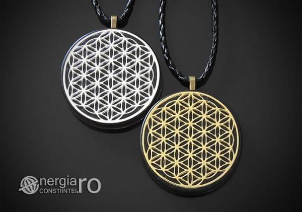 Amuleta-Medalion-Talisman-Pandant-Pandantiv-Orgonic-Orgon-Magnetic-Floarea-Vietii-Placat-Aur-18k-Argint-925-Cenusa-Vulcanica-Turmalina-ORG007-00