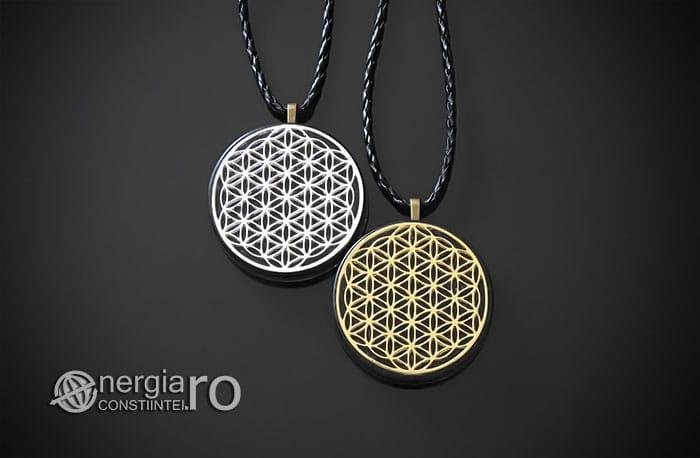 Amuleta-Medalion-Talisman-Pandant-Pandantiv-Orgonic-Orgon-Magnetic-Floarea-Vietii-Placat-Aur-18k-Argint-925-Cenusa-Vulcanica-Turmalina-ORG007-01
