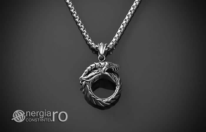 Pandant-Amuleta-Pandantiv-Dragon-Oroboro-Ouroboro-Ouroboros-Protectie-Protector-INOX-PND115-01