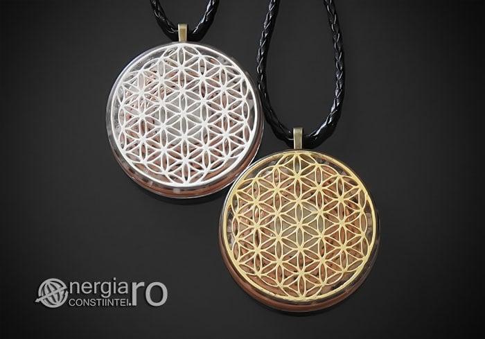 Amuleta-Medalion-Talisman-Pandant-Pandantiv-Orgonic-Orgon-Floarea-Vietii-Placat-Aur-18k-Argint-925-Cristal-Cuart-De-Stanca-PND008-00