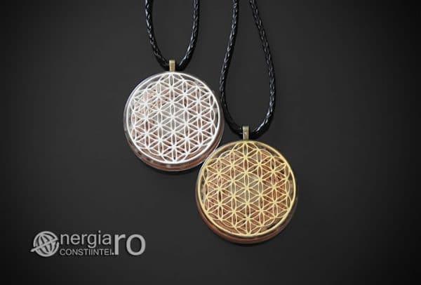 Amuleta-Medalion-Talisman-Pandant-Pandantiv-Orgonic-Orgon-Floarea-Vietii-Placat-Aur-18k-Argint-925-Cristal-Cuart-De-Stanca-PND008-01