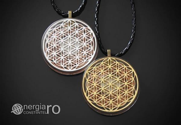 Amuleta-Medalion-Talisman-Pandant-Pandantiv-Orgonic-Orgon-Floarea-Vietii-Protector-Protectie-Placat-Aur-18k-Argint-925-ORG010-00