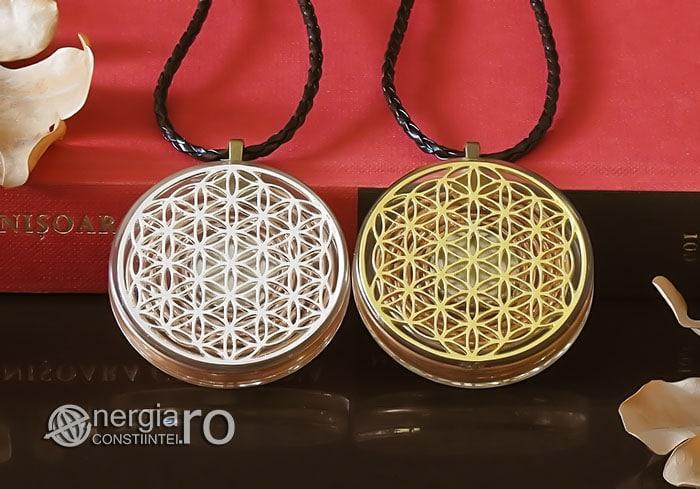 Amuleta-Medalion-Talisman-Pandant-Pandantiv-Orgonic-Orgon-Floarea-Vietii-Protector-Protectie-Placat-Aur-18k-Argint-925-ORG010-06
