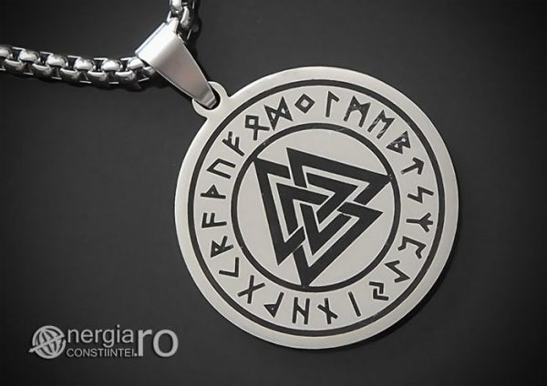 Pandant-Amuleta-Medalion-Talisman-Colier-Pandantiv-Valknut-Odin-Cu-Rune-INOX-PND112-00