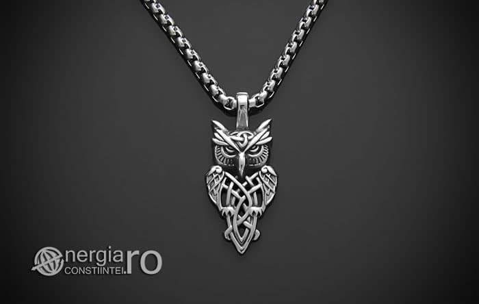 Pandant-Pandantiv-Amuleta-Talisman-Medalion-Colier-Bufnita-INOX-PND145-01