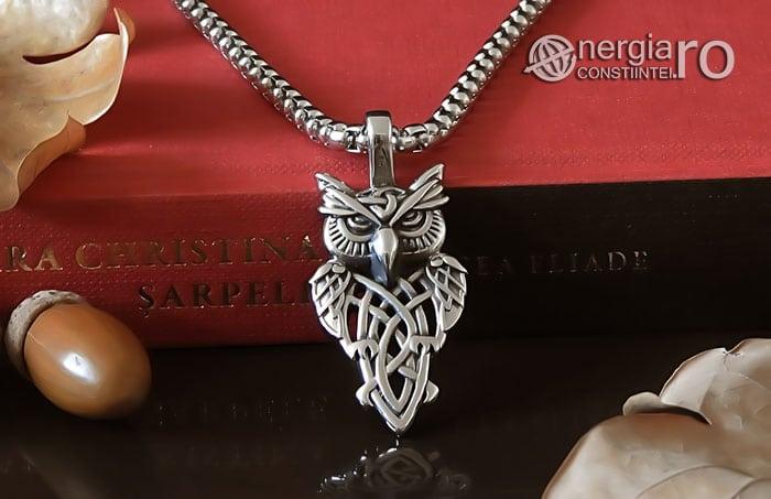 Pandant-Pandantiv-Amuleta-Talisman-Medalion-Colier-Bufnita-INOX-PND145-06