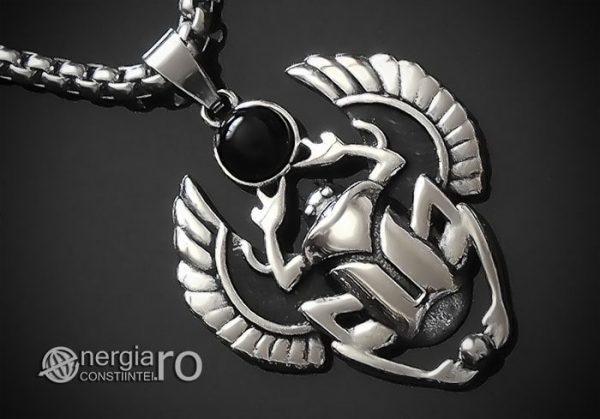 Pandant-Pandantiv-Amuleta-Talisman-Medalion-Colier-Scarabeu-Egiptean-Protector-Protectie-INOX-PND165-00
