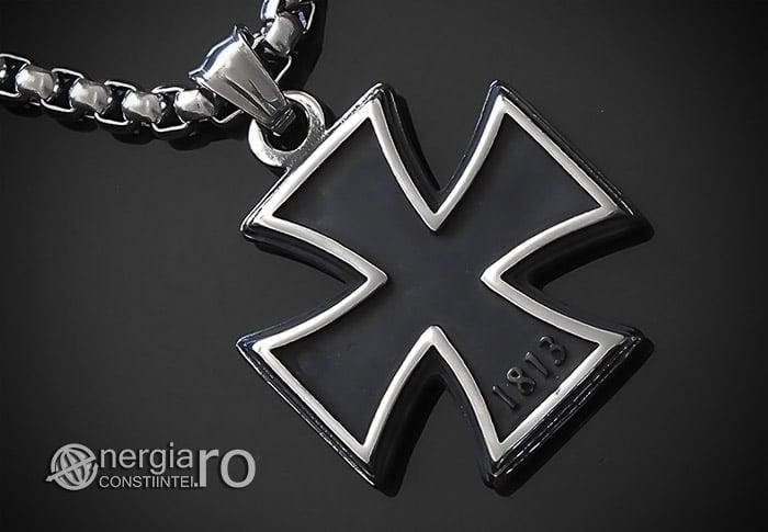 Pandant-Amuleta-Talisman-Medalion-Colier-Pandantiv-Crucea-Malteza-Crucea-de-Fier-INOX-PND072-00