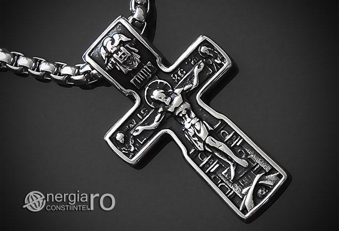 Pandant-Amuleta-Talisman-Medalion-Colier-Pandantiv-Cruciulita-Cruce-Crucifix-Iisus-INOX-PND185-00