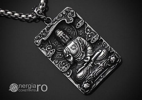 Pandant-Pandantiv-Amuleta-Talisman-Medalion-Colier-Tableta-Buddha-INOX-PND195-00