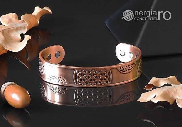 Bratara-Magnetica-Medicinala-Energetica-Terapeutica-CUPRU-Magneti-Neodim-Floarea-Vietii-BRA030-03