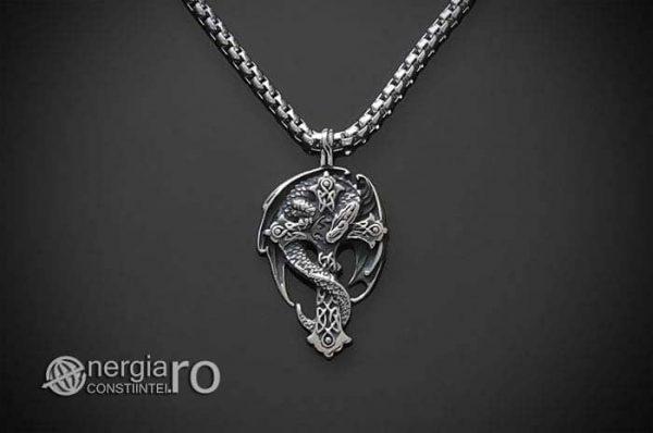 Amuleta-Talisman-Medalion-Colier-Pandant-Pandantiv-Cruce-Crucifix-Cruciulita-Sarpe-Dragon-Incolacit-INOX-PND220-01