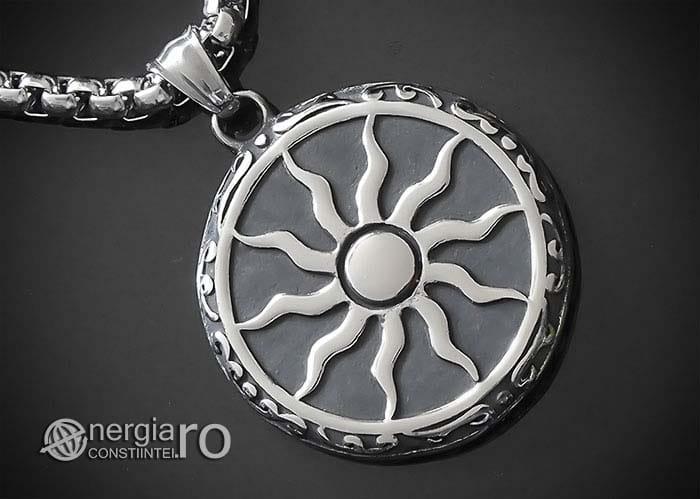 Amuleta-Talisman-Medalion-Colier-Pandant-Pandantiv-Soare-Simbol-Solar-INOX-PND176-00