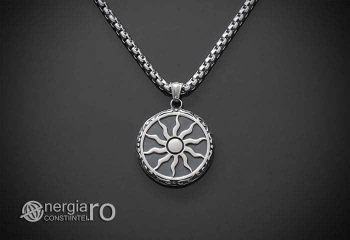 Amuleta-Talisman-Medalion-Colier-Pandant-Pandantiv-Soare-Simbol-Solar-INOX-PND176-01