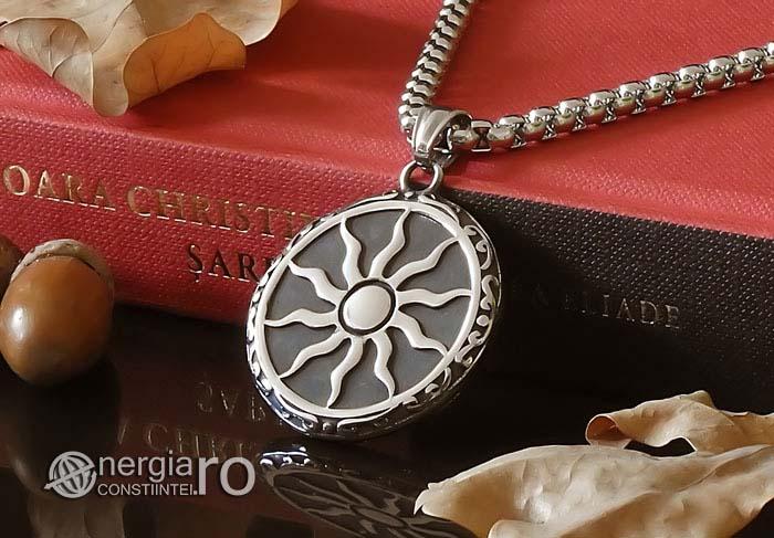 Amuleta-Talisman-Medalion-Colier-Pandant-Pandantiv-Soare-Simbol-Solar-INOX-PND176-03