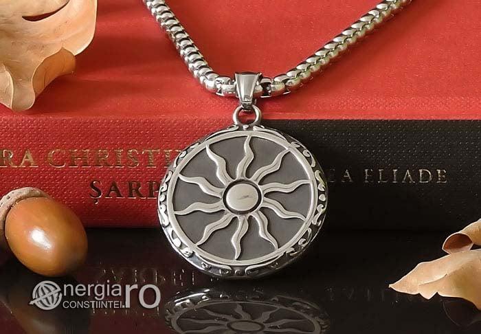 Amuleta-Talisman-Medalion-Colier-Pandant-Pandantiv-Soare-Simbol-Solar-INOX-PND176-05