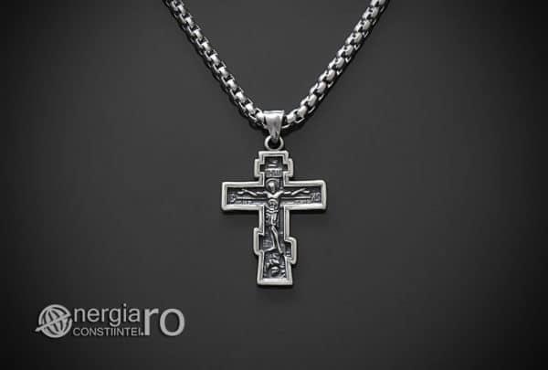 Amuleta-Talisman-Medalion-Colier-Pandant-Pandantiv-Cruce-Cruciulita-Crucifix-Iisus-Cristos-Christos-Hristos-INOX-PND187-01
