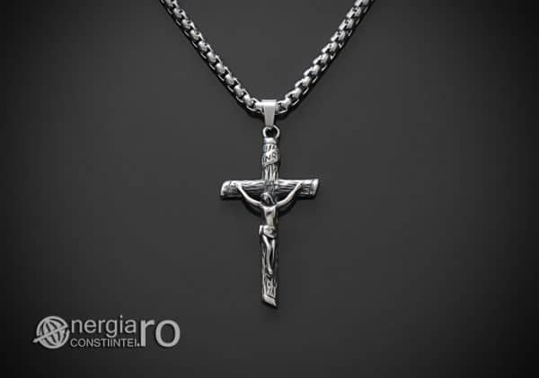 Amuleta-Talisman-Medalion-Colier-Pandant-Pandantiv-Cruce-Cruciulita-Crucifix-Iisus-Cristos-Christos-Hristos-INOX-PND188-01