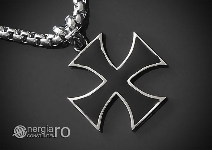 Amuleta-Talisman-Medalion-Colier-Pandant-Pandantiv-Cruciulita-Cruce-Crucea-Malteza-De-Fier-INOX-PND073-00