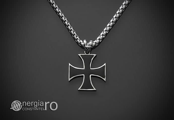 Amuleta-Talisman-Medalion-Colier-Pandant-Pandantiv-Cruciulita-Cruce-Crucea-Malteza-De-Fier-INOX-PND073-01