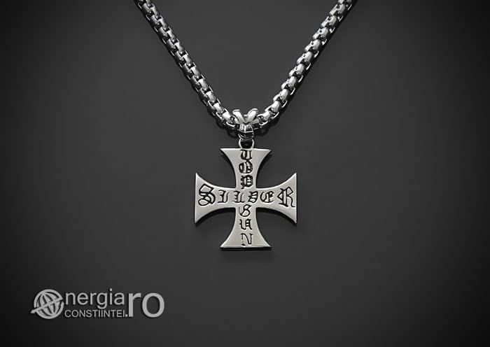 Amuleta-Talisman-Medalion-Colier-Pandant-Pandantiv-Cruciulita-Cruce-Crucea-Malteza-De-Fier-INOX-PND073-02