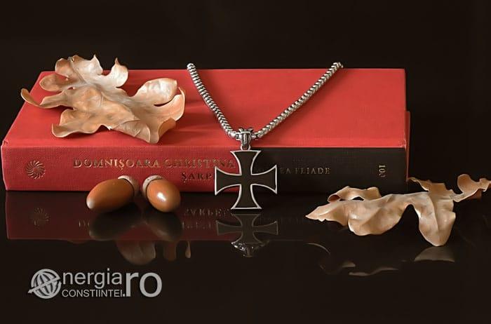 Amuleta-Talisman-Medalion-Colier-Pandant-Pandantiv-Cruciulita-Cruce-Crucea-Malteza-De-Fier-INOX-PND073-05