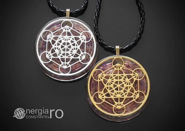 Amuleta-Talisman-Medalion-Colier-Pandant-Pandantiv-Orgonic-Orgon-Magnetic-Cubul-Lui-Metatron-Cristale-Ametist-ORG013-00