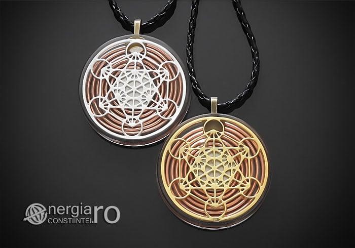 Amuleta-Talisman-Medalion-Colier-Pandant-Pandantiv-Orgonic-Orgon-Magnetic-Cubul-Lui-Metatron-Spirala-Cupru-Protectie-Protector-Protectoare-ORG014-00