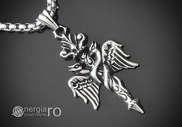 Amuleta-Talisman-Medalion-Colier-Pandant-Pandantiv-Caduceu-INOX-PND201-00