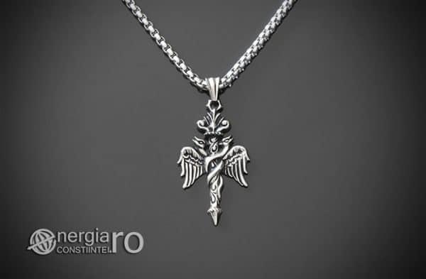 Amuleta-Talisman-Medalion-Colier-Pandant-Pandantiv-Caduceu-INOX-PND201-01