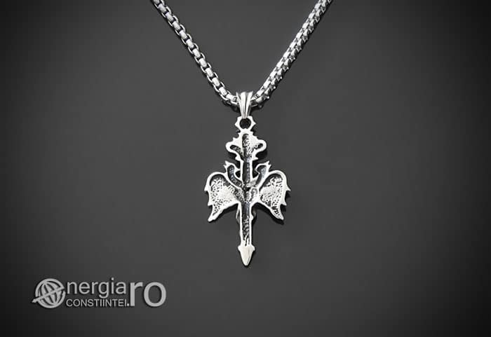 Amuleta-Talisman-Medalion-Colier-Pandant-Pandantiv-Caduceu-INOX-PND201-02