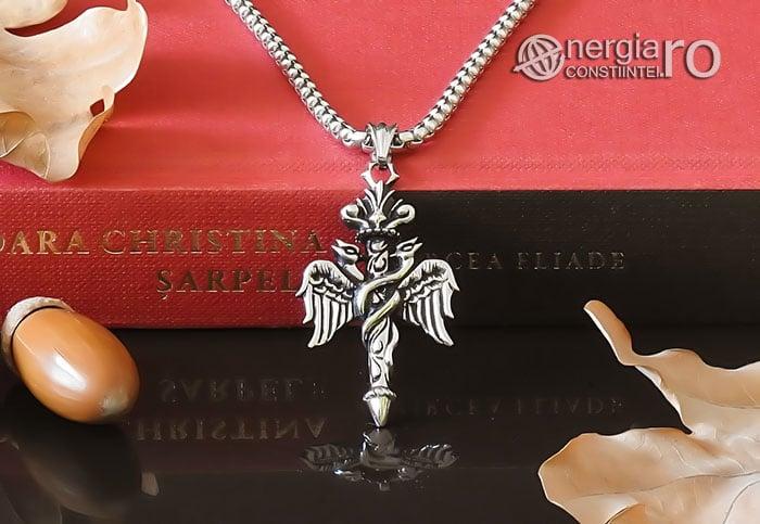 Amuleta-Talisman-Medalion-Colier-Pandant-Pandantiv-Caduceu-INOX-PND201-06