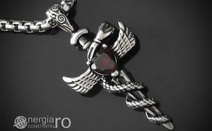 Amuleta-Talisman-Medalion-Colier-Pandant-Pandantiv-Caduceu-Protectie-Protector-Protectoare-INOX-PND202-00