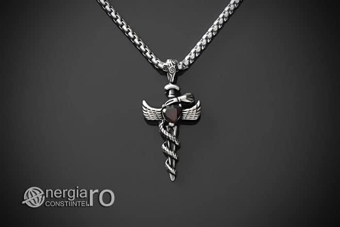 Amuleta-Talisman-Medalion-Colier-Pandant-Pandantiv-Caduceu-Protectie-Protector-Protectoare-INOX-PND202-01
