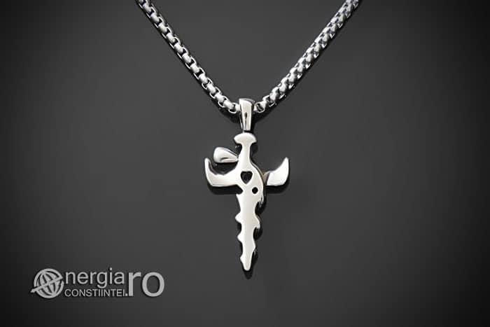 Amuleta-Talisman-Medalion-Colier-Pandant-Pandantiv-Caduceu-Protectie-Protector-Protectoare-INOX-PND202-02