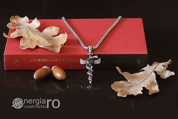 Amuleta-Talisman-Medalion-Colier-Pandant-Pandantiv-Caduceu-Protectie-Protector-Protectoare-INOX-PND202-05