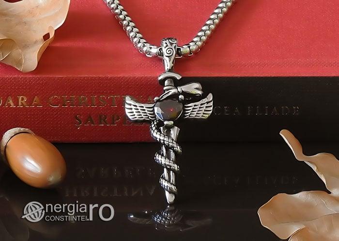 Amuleta-Talisman-Medalion-Colier-Pandant-Pandantiv-Caduceu-Protectie-Protector-Protectoare-INOX-PND202-06