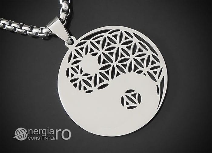 Amuleta-Talisman-Medalion-Colier-Pandant-Pandantiv-Yin-Yang-Floarea-Vietii-INOX-PND087-00