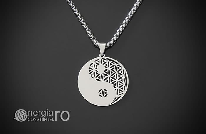 Amuleta-Talisman-Medalion-Colier-Pandant-Pandantiv-Yin-Yang-Floarea-Vietii-INOX-PND087-01