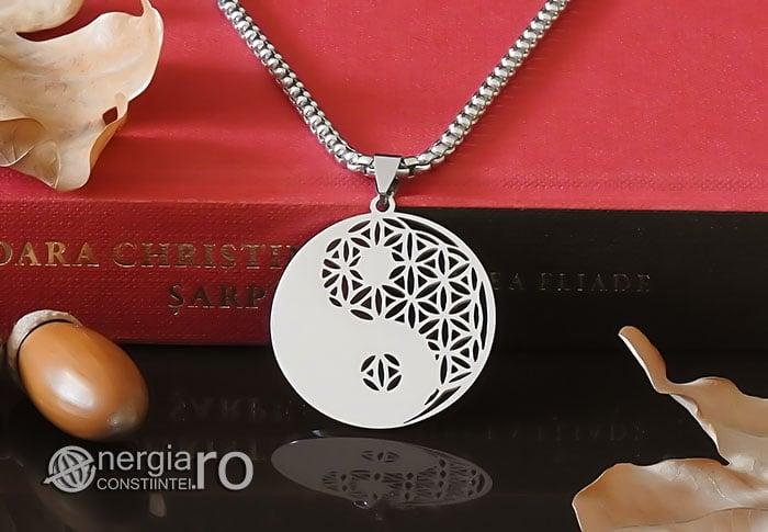 Amuleta-Talisman-Medalion-Colier-Pandant-Pandantiv-Yin-Yang-Floarea-Vietii-INOX-PND087-05